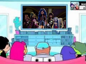 Teen Titans watching Monster High Freaky Fusion on the TV