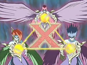 Harpie Lady Sisters forming Triangle Ecstasy Spark to destroy Mystical Elf