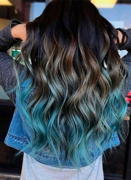 Green ombre, brown, mint 💚 Hair color ideas ...