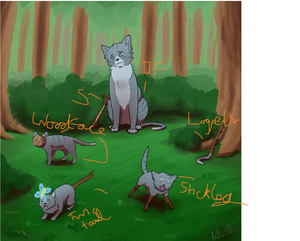 Jayfeather with kits:Twigtail,Branchleg,Logpelt,Woodface[most awesome warrior names EVER]