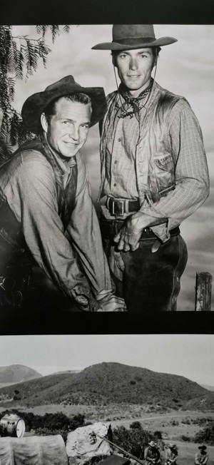 Clint and Eric Fleming as Rowdy Yates and Gil Favor in Rawhide