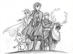 Frozen 2 Concept Art - Elsa and Anna