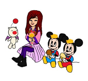 Kingdom Hearts Fanart Kairi with Mickey's Twin Nephews Morty and Ferdie.