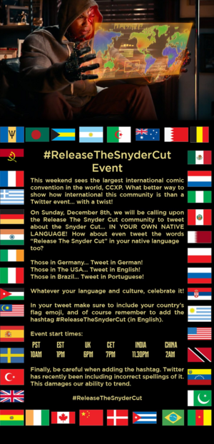 Release the Snyder Cut: International Twitter Event - Sunday, December 8, 2019