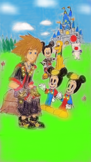 Sora meet Mickey's Nephews Morty and Ferdie.