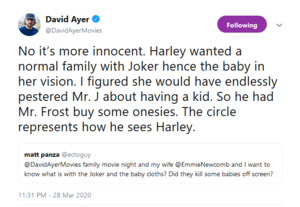 David Ayer on Joker's baby clothes in Suicide Squad
