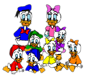 Donald, Daisy, Huey, Dewey, Louie, April, May, and June.