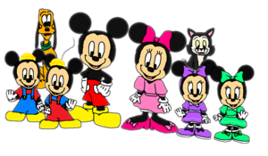 Mickey, Minnie, Morty, Ferdie, Millie, Melody, Pluto and Figaro.