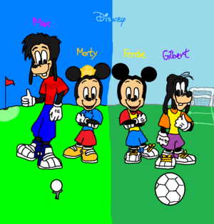 Morty and Max Playing Golf & Ferdie and Gilbert Playing Soccer (Side by Side)