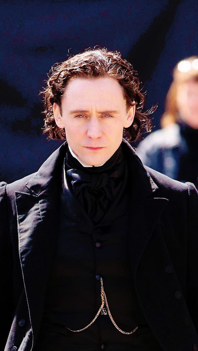 Tom Hiddleston (as Thomas Sharpe on the set of Crimson Peak)