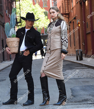 gigi hadid and bonner bolton photoshoot new york usa shutterstock editorial 9697580g