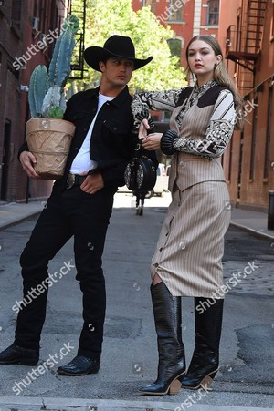 gigi hadid and bonner bolton photoshoot new york usa shutterstock editorial 9697580k