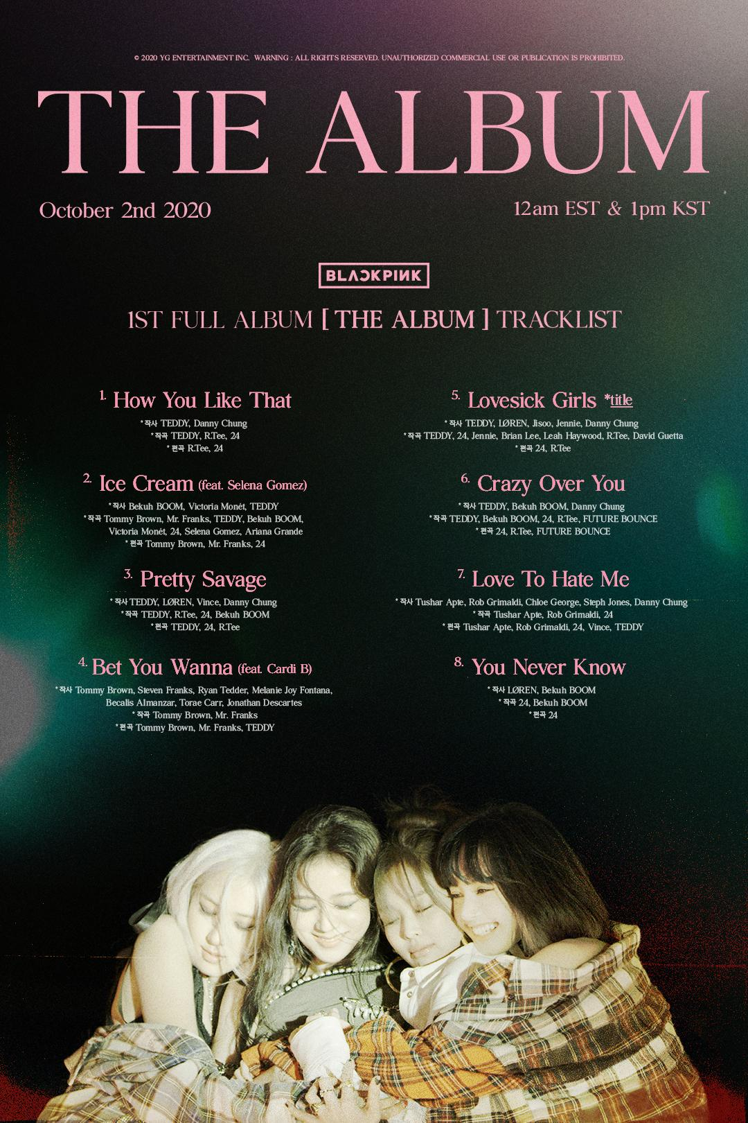 BLACKPINK - 'THE ALBUM' TRACKLIST POSTER