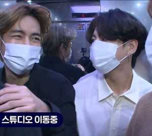 Taekook in pre-recording KBS news