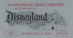 Invitational Press Preview 1955 Grand Opening Of Disneyland