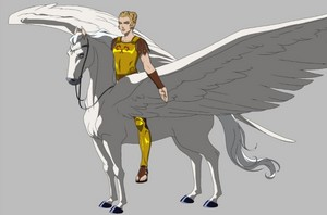 Alexia rides on an Majestic White Pegasus