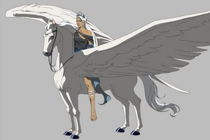Artemis riding an Pegasus