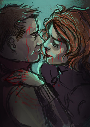 Clint/Natasha Drawing - Gushing Red
