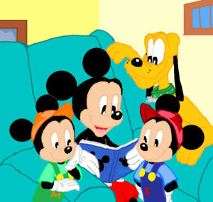 Disney Mickey Family Memory Book with Pluto, Morty and Ferdie.