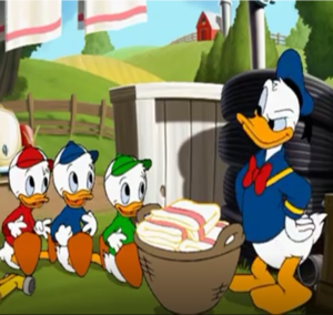 Donald eend with Huey, Dewey and Louie