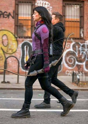 Hailee Steinfeld and Jeremy Renner on the set of 'Hawkeye' (December 8, 2020)