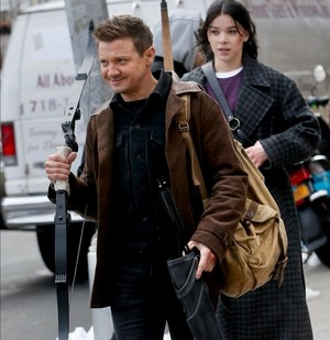 Hailee Steinfeld and Jeremy Renner on the set of Hawkeye || December 8, 2020