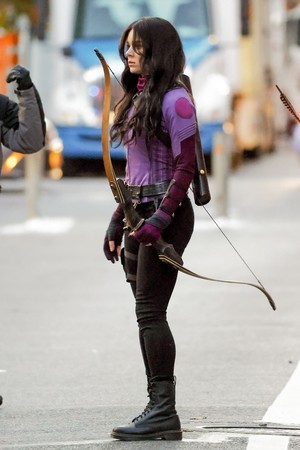 Hailee Steinfeld on the set of Hawkeye || December 8, 2020