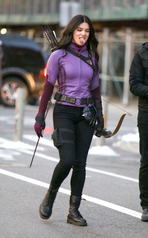 Hailee Steinfeld wearing Kate Bishop's suit on the set of 'Hawkeye' (December 8, 2020)