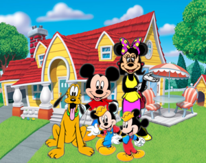 Mickey Mouse, Pluto, Felicity Fieldmouse and Morty and Ferdie Fieldmouse