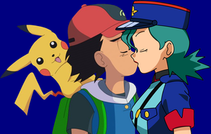Officer Jenny x Ash Ketchum Kissing