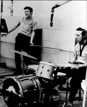 Elvis And D.J. Fontana In The Recording Studio