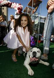 Madison Pettis And Spike The Dog 2007 Disney Film Premiere Of The Game Plan