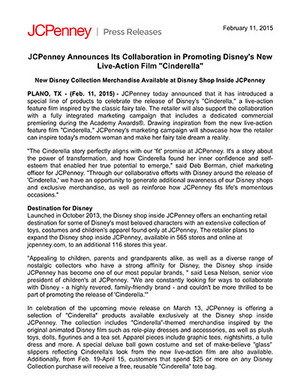 JC Penney Press Release In Support Of 2015 Disney Film, Lọ lem