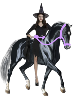 An Lovely Attractive Witch riding an Beautiful Horse