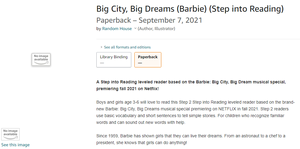 Barbie: Big City, Big Dreams (NEW Barbie MOVIE/SPECIAL COMING FALL 2021)