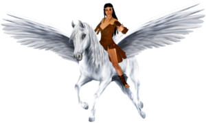 Bellerhina riding her Beautifully Majestic Pegasus corcel