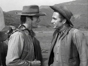 Clint Eastwood as Rowdy Yates and Eric Fleming as Gil Favor in Rawhide