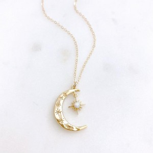 Crescent Moon & Opal Necklace
