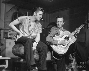 Elvis Backstage With His Cousin, Gene Smith
