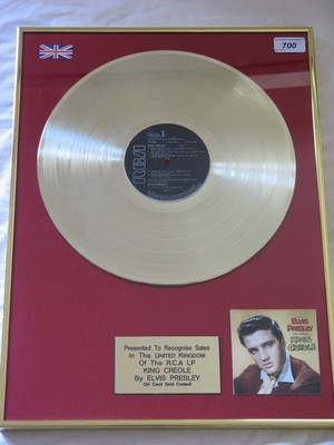 Gold Record For 1958 Movie Soundtrack, King Creole