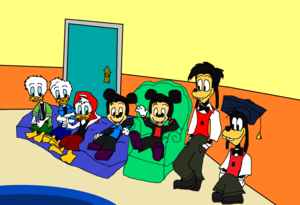 House of Fieldmouse Mickey's Nephews Morty and Ferdie with Goofy's Gilbert Goof.