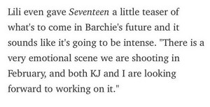 "Lili being interviewed about Barchie!!! ""Seventeen Magazine"" 21/01/2021"