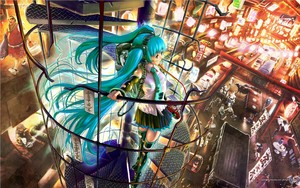 Miku in a city