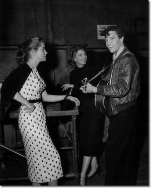 Elvis Presley And Delores Hart On The Set Of King Creole