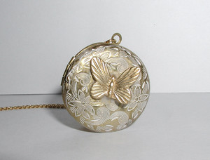 Butterfly White Patina Locket