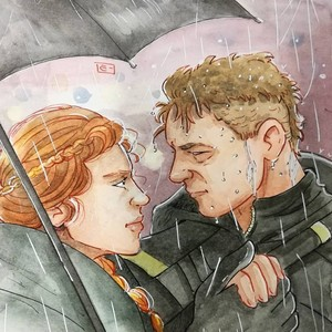 Clint/Natasha Drawing - Rain