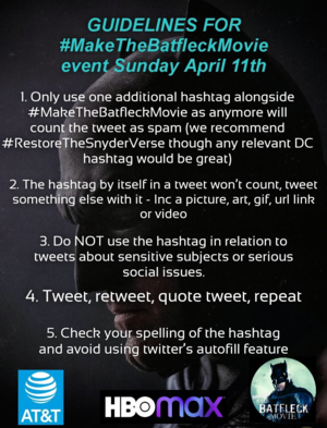 Make the Batfleck Movie Event on Twitter - Sunday, April 11th, 2021
