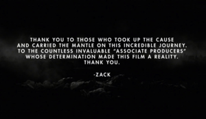 Message from Zack Snyder