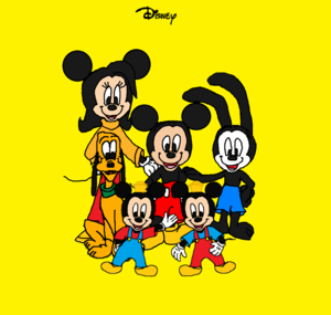 Mickey Mouse, Felicity(Amelia) Fieldmouse, and Oswald the Lucky Rabbit. Morty and Ferdie and Pluto