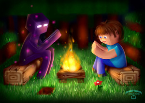 enderman and steve